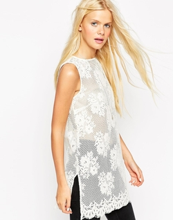 Asos  - Sleeveless Lace Tunic Top