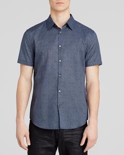 John Varvatos - Leaf Print Short Sleeve Button Down Shirt