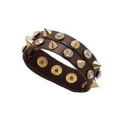 Blue Pearls - Brown Leather Bracelet