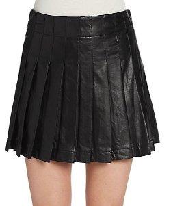 Saks Fifth Avenue - Pleated Faux Leather Mini Skirt