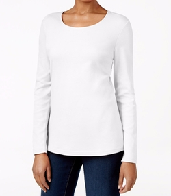 Karen Scott - Long-Sleeve Scoop-Neck Top