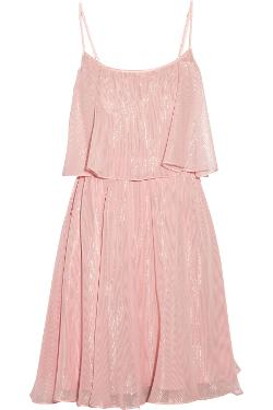 Halston Heritage  - Metallic Silk-Chiffon Dress