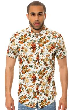 Elwood  - The Floral SS Buttondown Shirt in Cream & Orange