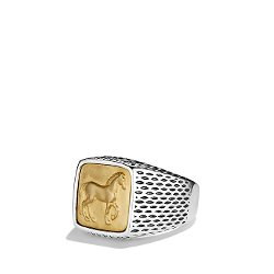 David Yurman - Petrvs Horse Signet Ring With Gold