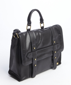 IIIBeca By Joy Gryson - Black Leather Top Handle Messenger