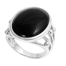 CloseoutWarehouse - Filigree Oval Simulated Onyx Stone Ring