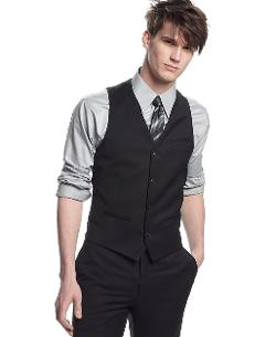Bar III  - Vest Black Solid Slim Fit