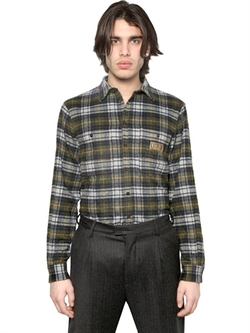 Dsquared2  - Checked Wool Stretch Flannel Shirt