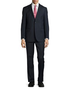 Neiman Marcus - Two-Piece Mini-Grid Modern-Fit Wool Suit