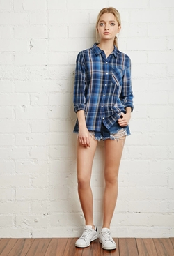 Forever21 - Textured Tartan Plaid Shirt