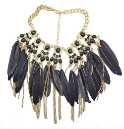 Wiipujewelry - Feather Tassel Choker Bib Necklace