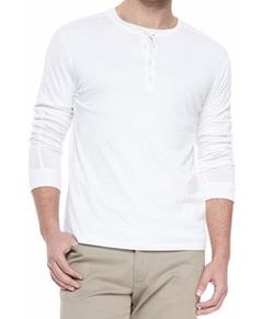 Vince - Long-Sleeve Jersey Henley Shirt