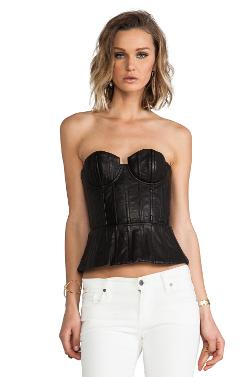 Alice + Olivia - Jessie Leather Structured Bustier Top