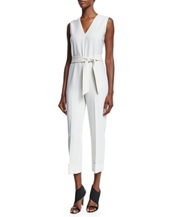 Agnona   - Sleeveless Belted Slim-Leg Jumpsuit