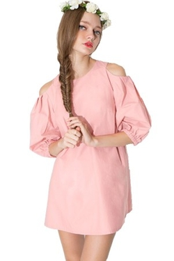 Maykool - Bare Shoulder Half Puff Sleeves Dress
