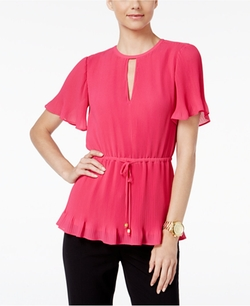 Michael Kors  - Flutter-Sleeve Peplum Top