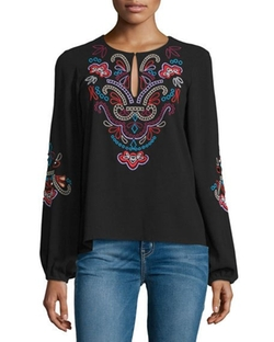 Nanette Lepore  - Long-Sleeve Floral-Embroidered Top