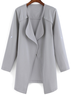 Romwe - Drape Front Long Sleeve Coat