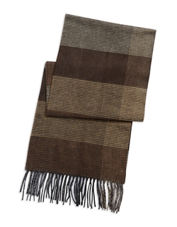 Black Brown 1826 - Colorblocked Plaid Scarf