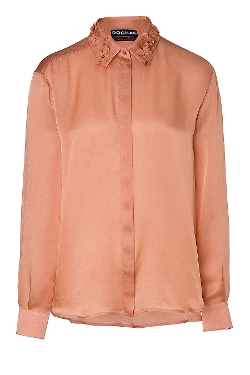 Rochas - Silk Charmeuse Shirt With Floral Collar
