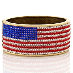 "Twiggy London - American Flag"" Pavé Crystal Hinged Bangle Bracelet"
