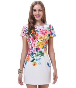 Sheinside - White Short Sleeve Florals Print Dress