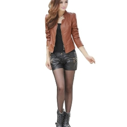 Zeagoo - Punk Zipper Faux Leather Jacket