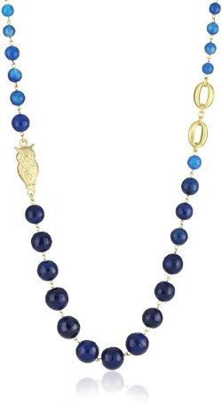 David Aubrey  - Long Blue Lace Agate Bead Charm Necklace