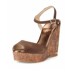 Jimmy Choo  - Perla Suede/Cork Wedge Sandals