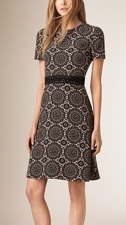 Burberry - Lace Print Silk Shift Dress