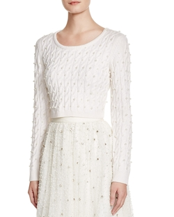 Alice + Olivia - Ora Pearl Studded Cable Sweater