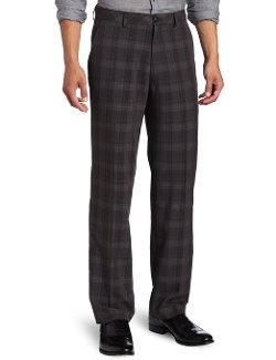 Haggar  - Plaid Straight Fit Flat Front Pants