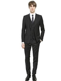 Dolce & Gabbana   - Stretch Wool Canvas 3 Piece Suit