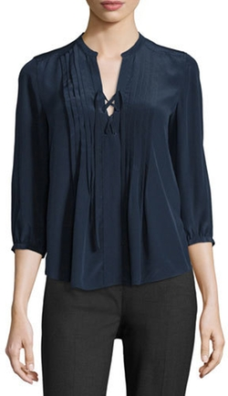 Rebecca Taylor - Lace-Up Pintuck Silk Blouse
