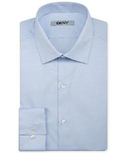 DKNY  - Slim-Fit Stretch Pinpoint Solid Dress Shirt