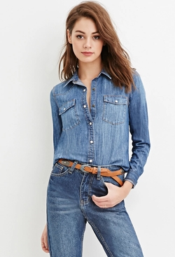 Forever21 - Snap-Buttoned Denim Shirt