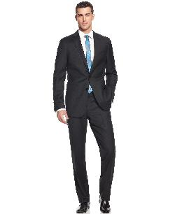 Calvin Klein  - Suit Solid Wool Charcoal Slim X Fit