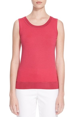 St. John Collection - Jersey Knit Wool Blend Shell Top