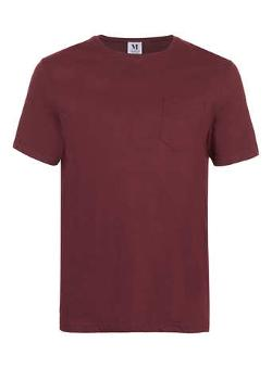 TOPMAN - Wine Pocket Crew Neck T-Shirt