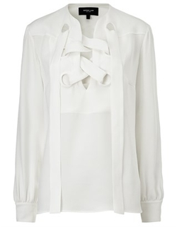 Derek Lam  - White Silk Lace Up Blouse