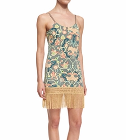 Maaji - Hippie Printed Fringe-Trim Short Dress