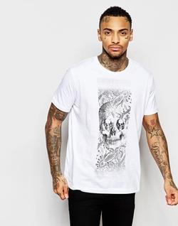 Diesel   - T-Joe-Au Crewneck Foil Skull Print T-Shirt