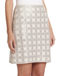St. John - Sequined Grid Knit Skirt