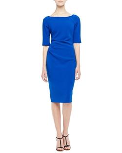 Lela Rose  - Deedie 3/4-Sleeve Side Ruched Dress