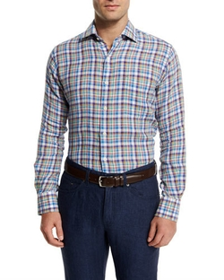 Peter Millar - Plaid Long-Sleeve Linen Sport Shirt