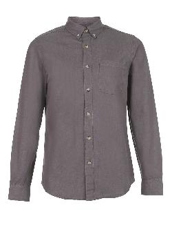 TOPMAN - GREY LONG SLEEVE DENIM SHIRT