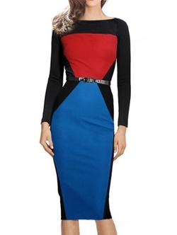 Romwe - Colorblock Long Sleeve Pencil Dress