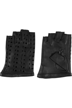Karl Lagerfield - Cutout leather fingerless gloves