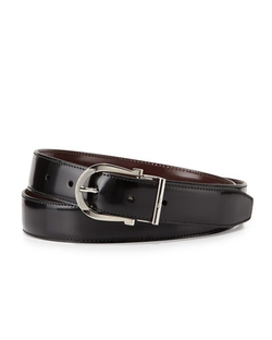 Salvatore Ferragamo  - Reversible Gancini Leather Dress Belt