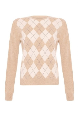 Scottish Wear  - Ladies Cashmere Argyle Round Neck Sweater